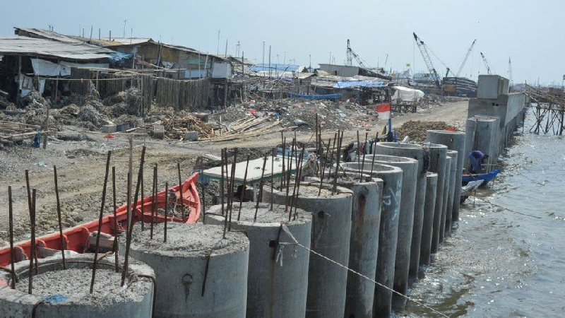 The construction of the sea wall is underway