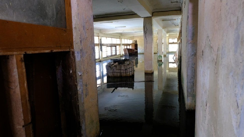 Stagnant water on the ground floor